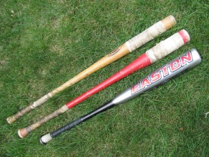 Two Fungo Bats in Comparison to a Regular Baseball Bat